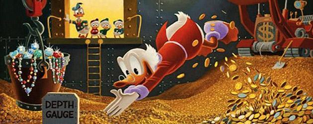 Tío Gilito nadando en dinero